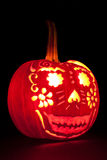Smiling Jack O' Lantern with Candle Lit. Stock Photo