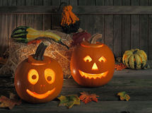 Smiling Jack-O-Lanterns Royalty Free Stock Images