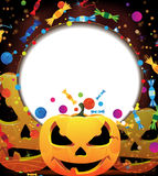 Smiling jack o lanterns. Halloween background. Three smiling pumpkin heads and fireworks with confetti and candy. Abstract Halloween background Royalty Free Stock Image