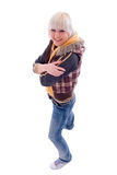 Smiling Jeans Blonde Girl. Royalty Free Stock Photos