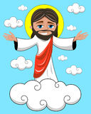 Smiling Jesus Christ Open Hands Heavenly Kingdom vector illustration