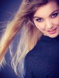 Smiling joyful lady in trendy fashion look. Royalty Free Stock Photo