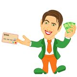 Men holds the dollar bills and credit card Stock Photography