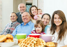 Smiling joyful multigeneration family. Portrait of smiling joyful multigeneration family  in home Stock Images