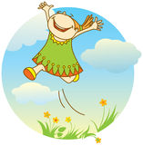 Smiling jumping girl. Vector illustration of smiling jumping girl royalty free illustration