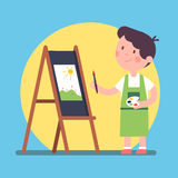 Smiling kid artist painting a piece of art. On a canvas. Standing near easel and holding palette and brush. Color paint lesson. Modern flat style vector Stock Images