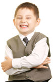 Smiling kid in vest Stock Photo