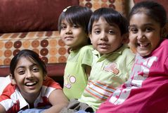 Smiling kids. Preschool children series in home Royalty Free Stock Photo