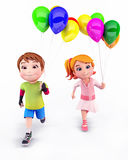 Smiling Kids with balloons Stock Image