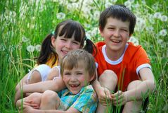 Smiling kids in grassy field Stock Photos