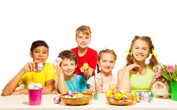 Smiling kids together holding Eastern eggs Stock Photography