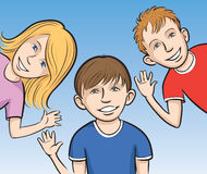 Smiling kids waving. Vector illustration of Smiling kids waving. Easy-edit layered vector EPS10 file scalable to any size without quality loss Royalty Free Stock Image