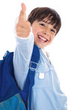 Smiling kinder garden boy gives thumbs up Royalty Free Stock Photos