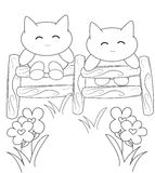 Smiling kittens coloring page Royalty Free Stock Photo