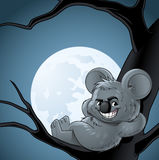 Smiling koala leaning of a tree at night. Illustration of a smiling koala leaning of a tree at night Royalty Free Stock Photo