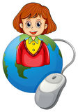 A smiling lady above a globe with a mouse Royalty Free Stock Photos
