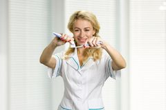 Smiling lady applying toothpaste on toothbrush. Portrait of smiling girl preparing for teeth brushing Stock Photography