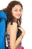 Smiling lady backpacker Stock Photography