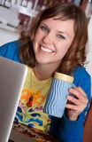 Smiling Lady in Cafe Stock Photos