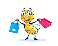 Smiling lady fly character. Happy fly or bee cartoon character with shopping bags Stock Photography