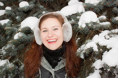 Smiling Lady in forest Royalty Free Stock Photography