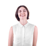 A smiling lady isolated on a white background. A happy and confident student. A professional successful woman. Health concept. stock photo