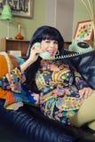 Smiling Lady on Phone Royalty Free Stock Photo