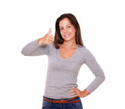 Smiling lady showing positive sign with fingers Stock Images