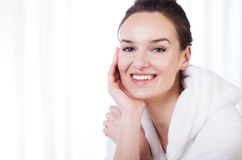 Smiling lady in spa Royalty Free Stock Photography