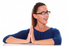 Smiling lady with spectacles in blue shirt Stock Photos