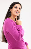 Smiling lady in a thinking action Stock Photo