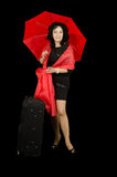 Smiling lady travelling with red umbrella Stock Photography