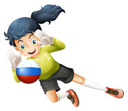 A smiling lady using the ball with the Russian flag Stock Photos