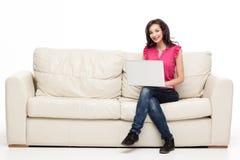 Smiling laptop typing Royalty Free Stock Image