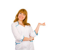 Smiling laughing girl in nurse uniform Royalty Free Stock Photo