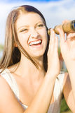 Smiling Laughing Woman Holding Old Telescope Stock Image