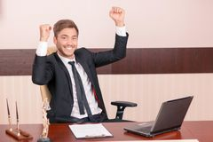 Smiling lawyer feeling thrice happy royalty free stock image