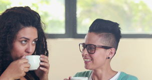 Smiling lesbian couple drinking coffee together stock footage