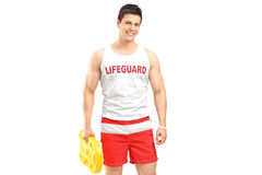 A smiling lifeguard on duty posing Royalty Free Stock Image