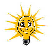 Smiling light bulb Royalty Free Stock Photos