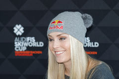 Smiling Lindsey Vonn at the press conference, side view Royalty Free Stock Photography