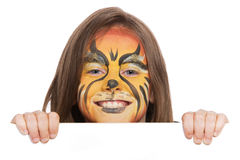 Smiling lion banner. Banner of girl with face paint of lion Royalty Free Stock Image