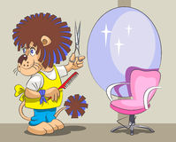 Lion is the hairdresser and stylist. The smiling lion is the hairdresser stand with scissors and a comb and is ready to serve the following client Royalty Free Stock Photo