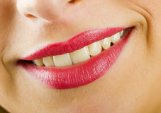 Smiling lips with lipstick Stock Photo