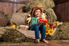 Smiling little african girl in cowboy hat sitting in the hay with apples Stock Photography