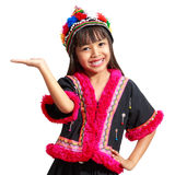 Smiling little asian girl with hill tribe dress. Isolated over white stock image