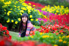 Smiling little asian girl sitting on flower field Stock Images