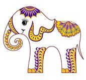 Smiling little baby elephan in yellow lilac tint. Smiling little baby elephant with decorative pattern in yellow lilac tones Royalty Free Stock Photos