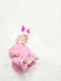 Smiling Little Baby In Pink Clothes Stock Photos