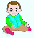 Smiling Little Boy. Illustration of smiling little boy look very happy, cute, with big eyes Stock Image